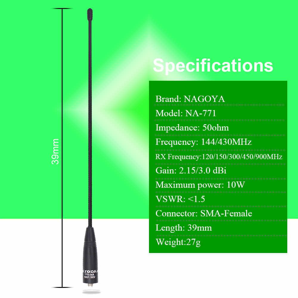 Antena original NAGOYA NA-771 SMA-ajuste hembra para Radio de dos vías UV-5R UV-82 Antena de doble banda