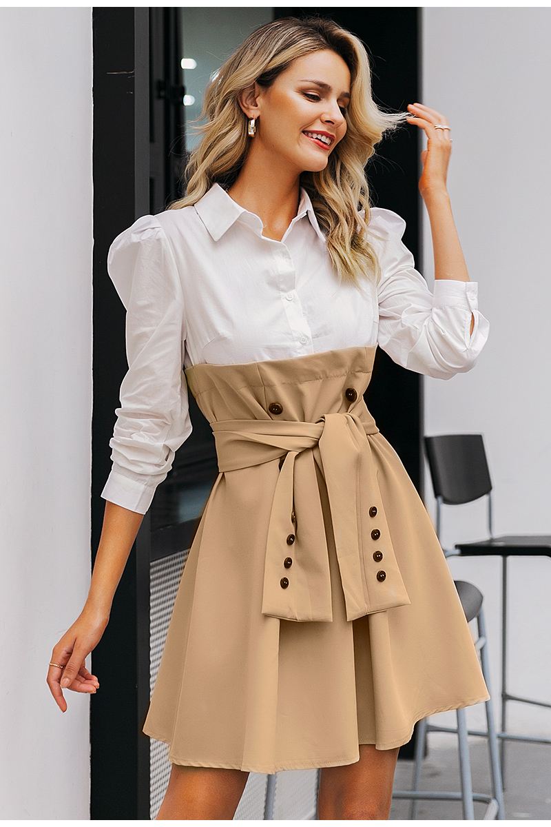 Simplee Patchwork puff sleeve shirt dress women Elegant button sash belt office ladies dresses Autumn ladies khaki work dress 7