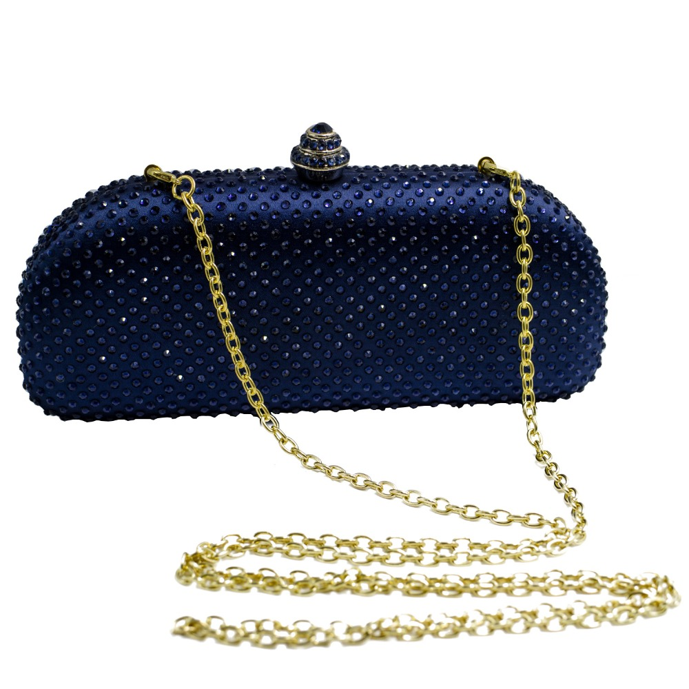 Image 5 - Elegante Navy Blue Crystal Box Clutch Bag and Purses Rhinestone Evening Bagsevening purseevening bagsf bag -