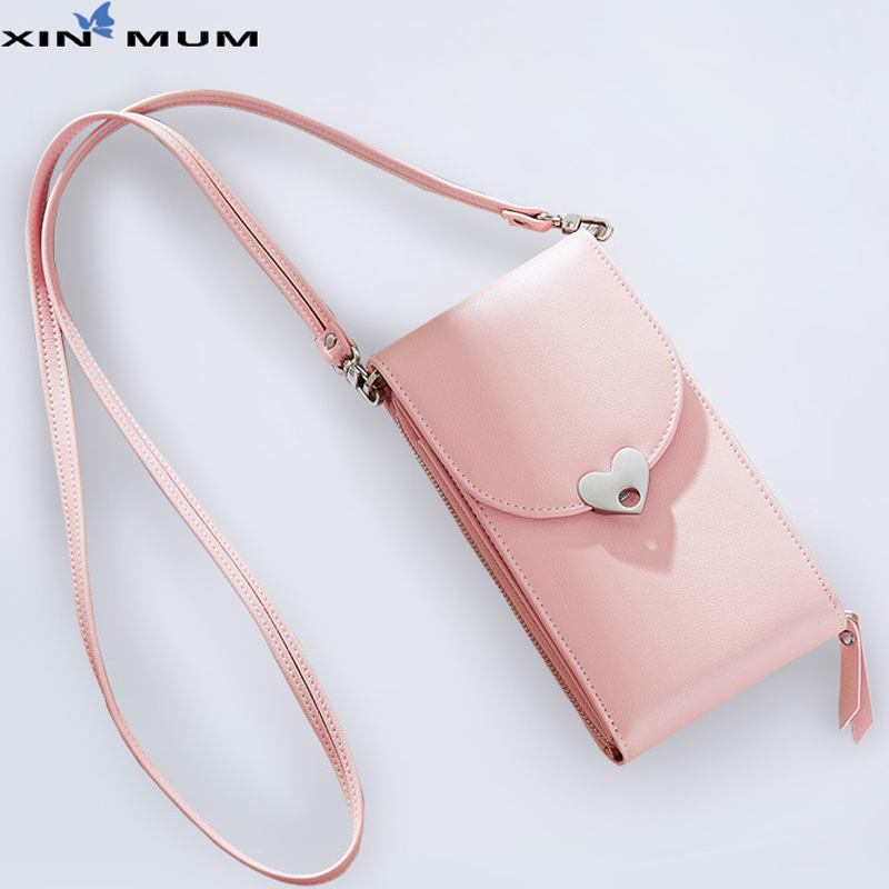 New Women's Wallet Peach Heart Mobile Phone Bag Multi function Large Capacity Lady Shoulder Bags with Card Slot Girl Coin Purse