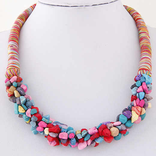 LEMOER Fashion Bohemian Style Ocean Wind Gravel Stone Chokers Collar Necklace For Women Summer Beach Vacation Accessories
