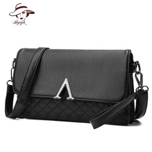 Famous Brand Fashion Classic Small Women Handbag Black Plaid Messenger Bag Solid Shoulder Bag Girl Envelope Evening Clutch Purse