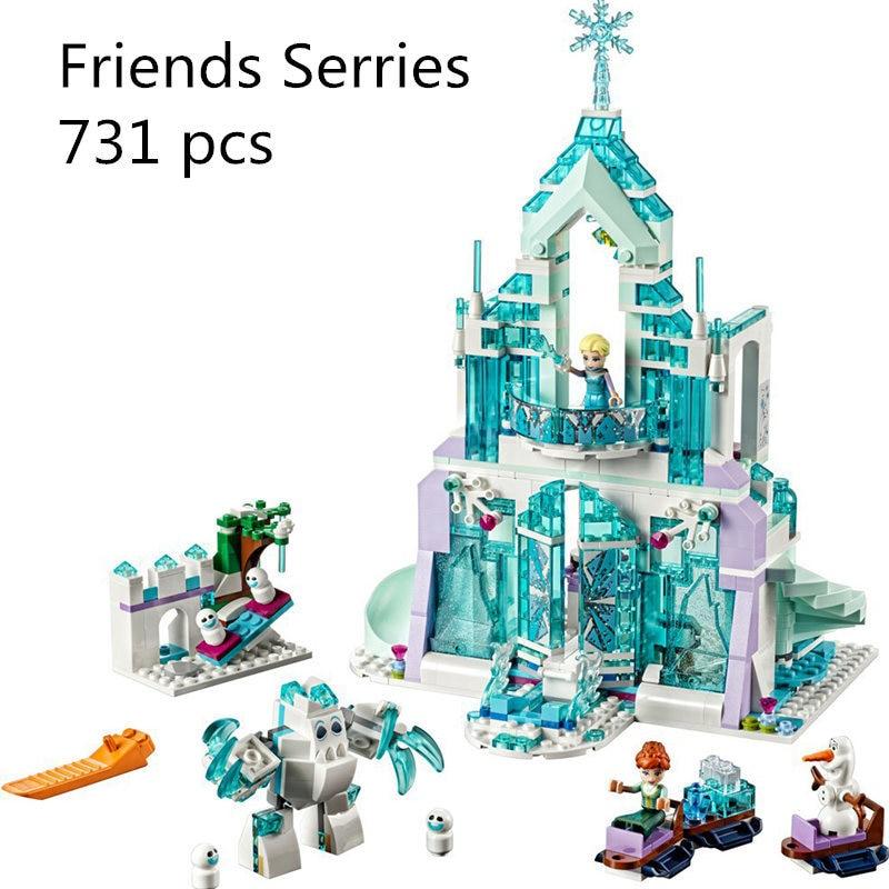 Model building kits compatible with lego 41148 girl friends Elsa`s Magical Ice Castle 3D blocks Educational toy 3D Bricks figure