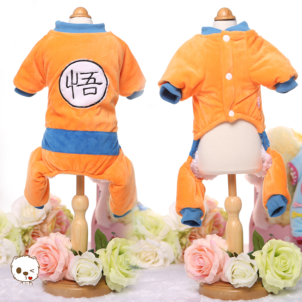 Goku Costume Dog Clothes Winter Puppy Jumpsuit Warm Pet Cat Coat Yorkshire Apparel Small