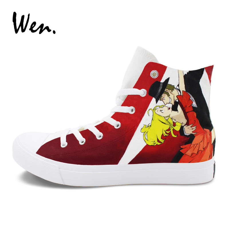 Wen Custom Design Men Women Sneakers Anime Baccano Hand Painted Canvas Shoes Athletic Sport High Top Espadrilles Flat Plimsolls wen design custom hand painted anime shoes grimgar of fantasy and ash high top women canvas sneakers men athletic skate shoes