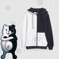 Adult Women Girls Spring Fall Danganronpa monokuma Jacket Coat Hoodies Long Sleeve black white Bear Cosplay Costume Sweatshirt