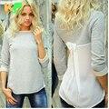 2016 Primavera Outono mulheres long camisa Sólida Patchwork Barra pescoço t-shirt ocasional das mulheres de Volta Arco longo T Shirt blusas jztx00024