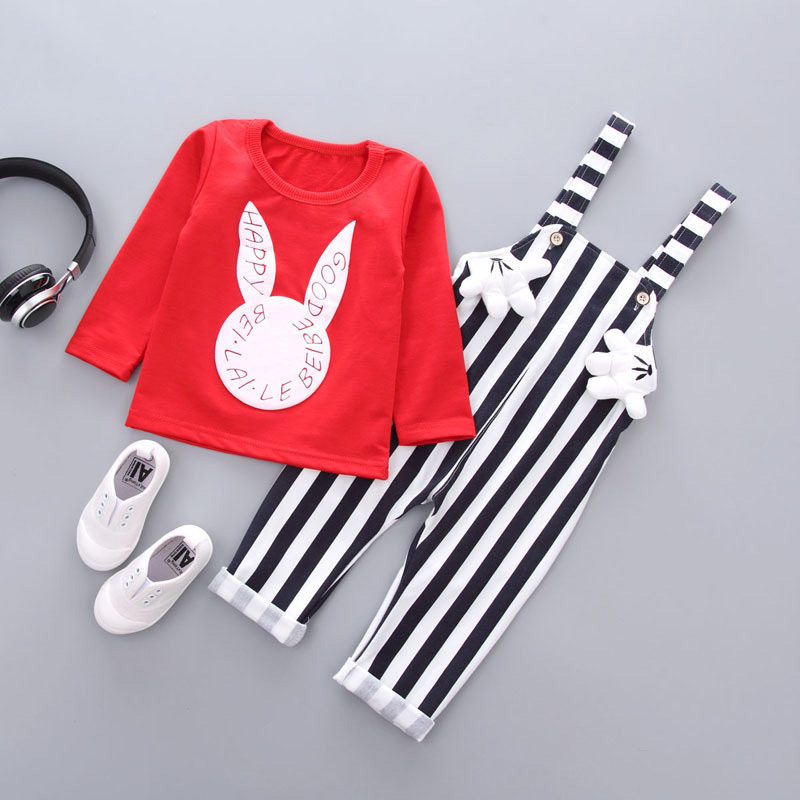 2017 Lovely Baby Girls Clothes Set Autumn Newborns Toddler Cartoon Rabbit Pattern T shirt+Strapped Romper Baby Suits