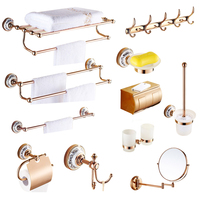 Copper square tissue box European rose gold hair dry holder bathroom soap net double cup holdder bathroom hardware pendant set
