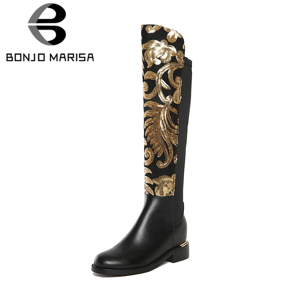 BONJOMARISA 2019 Spring Brand Appliques Genuine Leather Knee High Knight Boots Women slip-on Elastic Hidden Heels Shoes WomanBONJOMARISA 2019 Spring Brand Appliques Genuine Leather Knee High Knight Boots Women slip-on Elastic Hidden Heels Shoes Woman