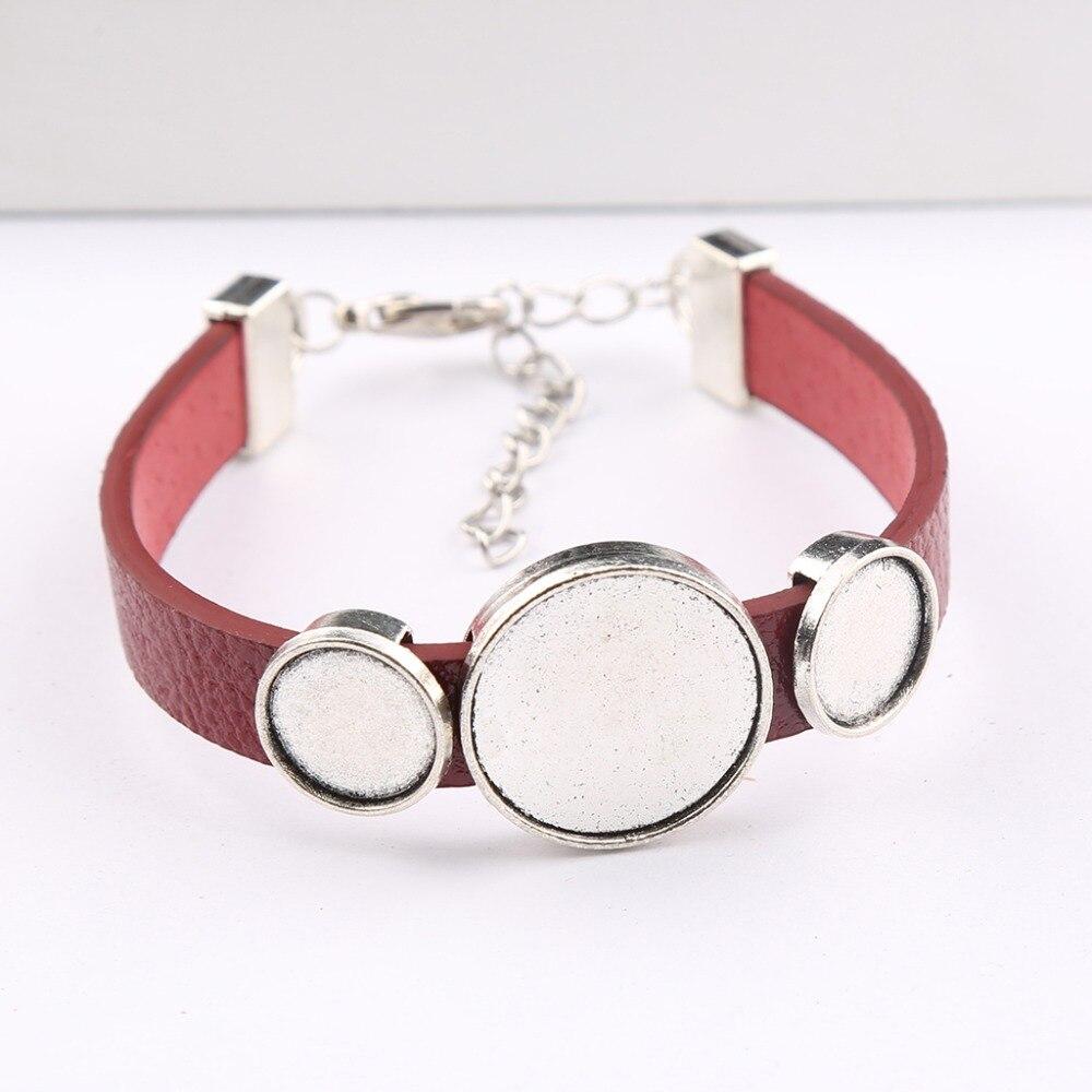 onwear 5pcs antique silver fit 12mm 20mm cabochon bracelet blanks diy  leather bracelets base setting trays for jewelry making