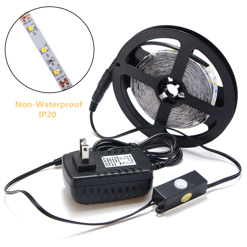 5M RGB Led Strip Light 12V DC 3528 SMD 300 Leds Light Warm White Auto PIR Motion Sensor Switch Adapter lole леггинсы lsw1234 motion leggings m blue corn