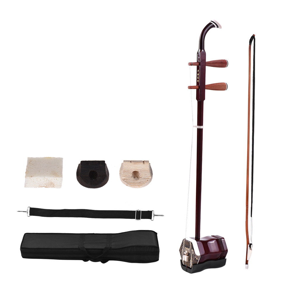 Bois massif Erhu chinois violon à 2 cordes violon Instrument de musique à cordes café foncé - 2