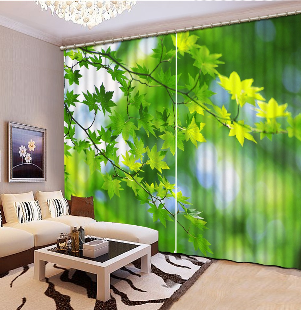 green leaf curtains photo Blackout Window Drapes Luxury 3D Curtains For Living room Bed room Office Hotel Home