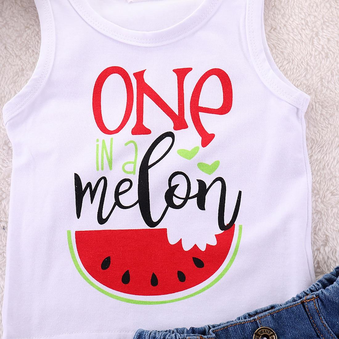 Toddler Kids Newborn Baby Girls Summer Clothes Set Watermelon Print Vest Tops+Tassels Denim Shorts 2Pcs Outfits