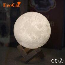 Dropshipping 3D พิมพ์ดวงจันทร์โคมไฟโคมไฟ LED Night light 20 ซม.18 ซม.15 ซม.USB Moonlight 2 สีเปลี่ยน Touch สำหรับของขวัญสร้างสรรค์
