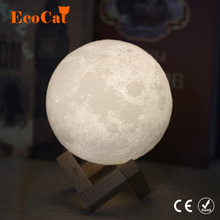 Dropshipping 3D Print Moon lamp LED Night light 20CM 18CM 15CM USB Moonlight 2 Color Changeable Touch Switch   For Creative Gift beiaidi creative 3d print moon lamps usb rechargeable led night light table moonlight with touch sensor switch christmas gift