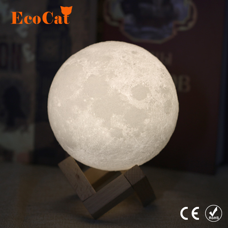 Dropshipping 3D Print Moon lamp LED Night light 20CM 18CM 15CM USB Moonlight 2 Color Changeable Touch Switch For Creative Gift