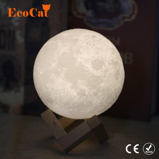 Lámpara de Luna 3D de luz LED nocturna de 20CM, 18CM, 15CM, luz de luna USB, Interruptor táctil cambiable de 2 colores para regalo creativo