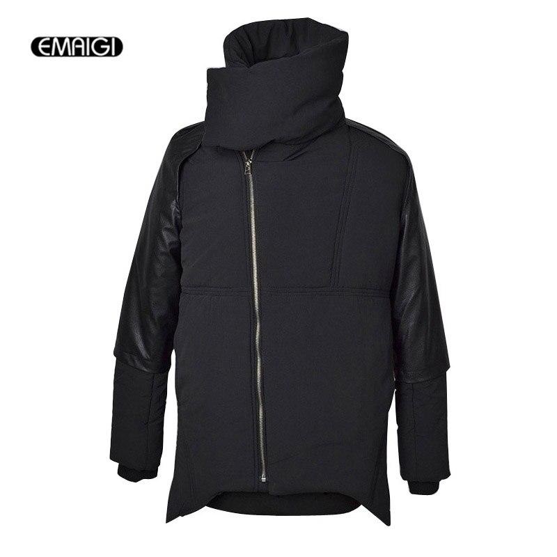 Casual Mens Winter Parka Jacket PU Stitching Thick Chaqueta Hombre Invierno High Collar Street Fashion Men Cotton Padded Coat цены онлайн