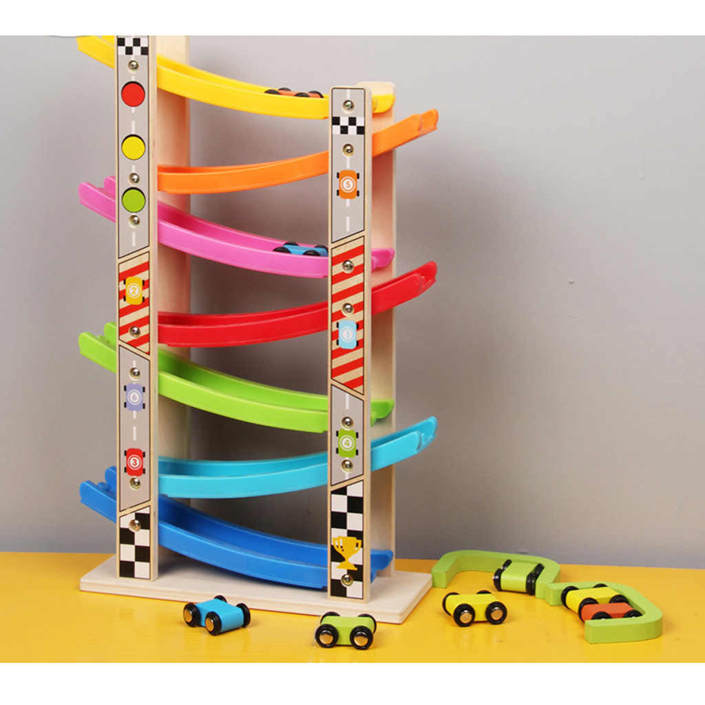 Wooden Train 7-Layer Race Track & 8 Mini Inertia Race Car Sliding Toy Vehical &Train Baby Toddler Motor for Baby Car