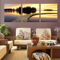 3 Panel Canvas Art Sunrise Ocean Home Decor Painting On Canvas Painting in Living Room Modular Picture Without Frame
