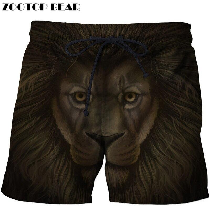 Funny Lion Beach   Shorts   Men   Board     Shorts   3d   Shorts   Plage Summer Swimwear Quick Dry Pants Fashion Print Drop Ship ZOOTOP BEAR