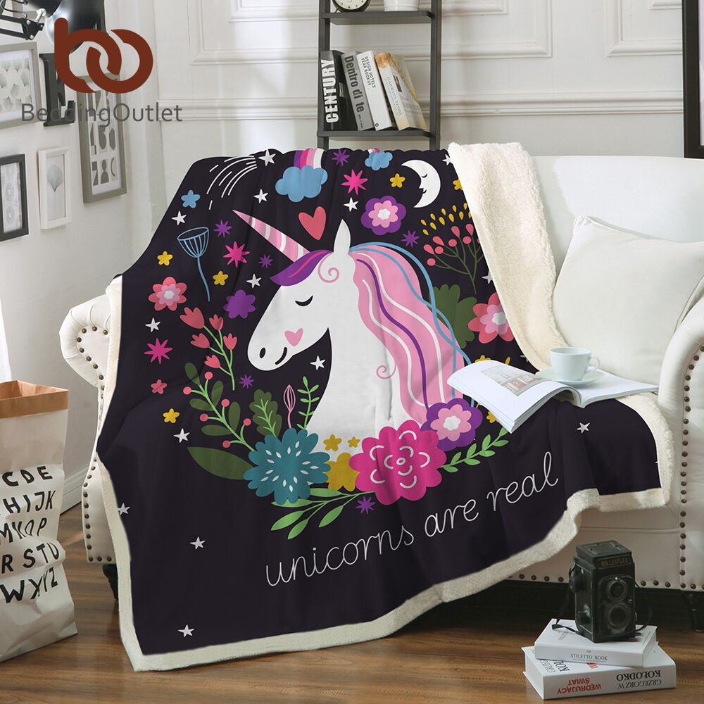 BeddingOutlet Unicórnio Dos Desenhos Animados de Veludo de Pelúcia Cobertor Lance Floral Impresso para Crianças Meninas Sherpa Cobertor para o Sofá Preto Colcha Fina