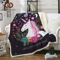 BeddingOutlet unicornio tiro manta Floral dibujos animados Sherpa manta para niños niñas sofá suave felpa colcha fina Envío Directo