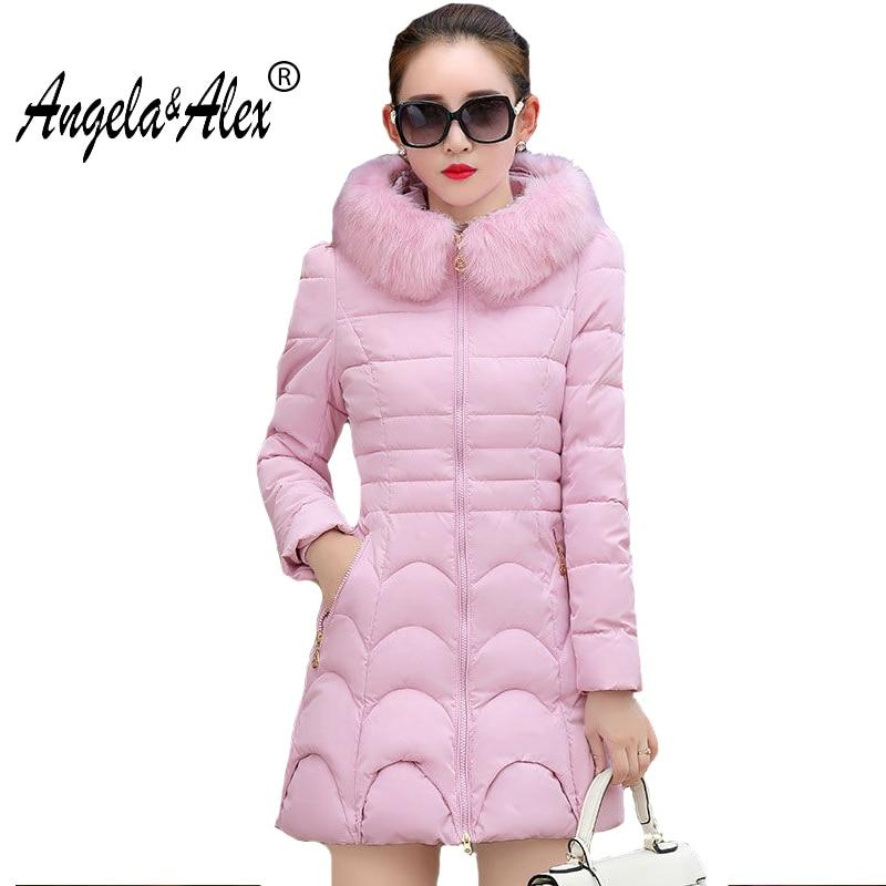 Winter Jacket 2017 Women Cotton Padded Long Jacket Slim Coat Outwear High Quality Warm Female Parka Faux Fur Hooded Womens Coat стоимость