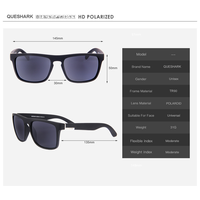 QUESHARK Professional HD TR90 Frame Polarized Fishing Sunglasses Bicycle Glasses UV400 Hiking Climbing Sunglasses Sets 4