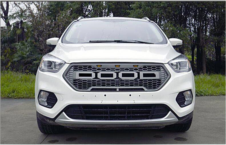 Car Front Around Mesh Grille Grills Cover Trims For Ford Kuga Escape 2017 2018 2019 (4COLOS) WITH LAMP BY EMS