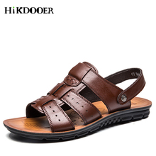 New Arrival Fashion Men Leather Sandals Summer Leather Beach Shoes Male Flats Outdoor Sandals Casual Shoes for men цена 2017