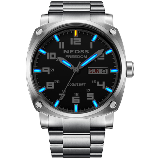 High quality luxury brand tritium watch automatic mechanical watches Luminous 5ATM waterproof sapphire Army male wrist watch