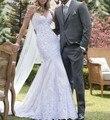 Vestido de noiva уникальные кружевные свадебные платья русалки с жемчугом на тонких бретельках платье невесты 2018 Abiti da sposa