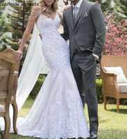 Vestido de noiva Einzigartige Spitze Meerjungfrau Brautkleider Perlen Spaghetti-trägern Braut Kleid 2018 Abiti da sposa