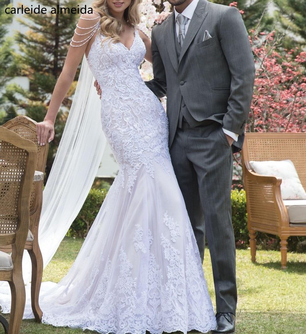 Vestido De Noiva Unique Lace Mermaid Wedding Dresses Pearls Spaghetti Straps Bride Dress 2020 Elegant Wedding Gowns Mermaid