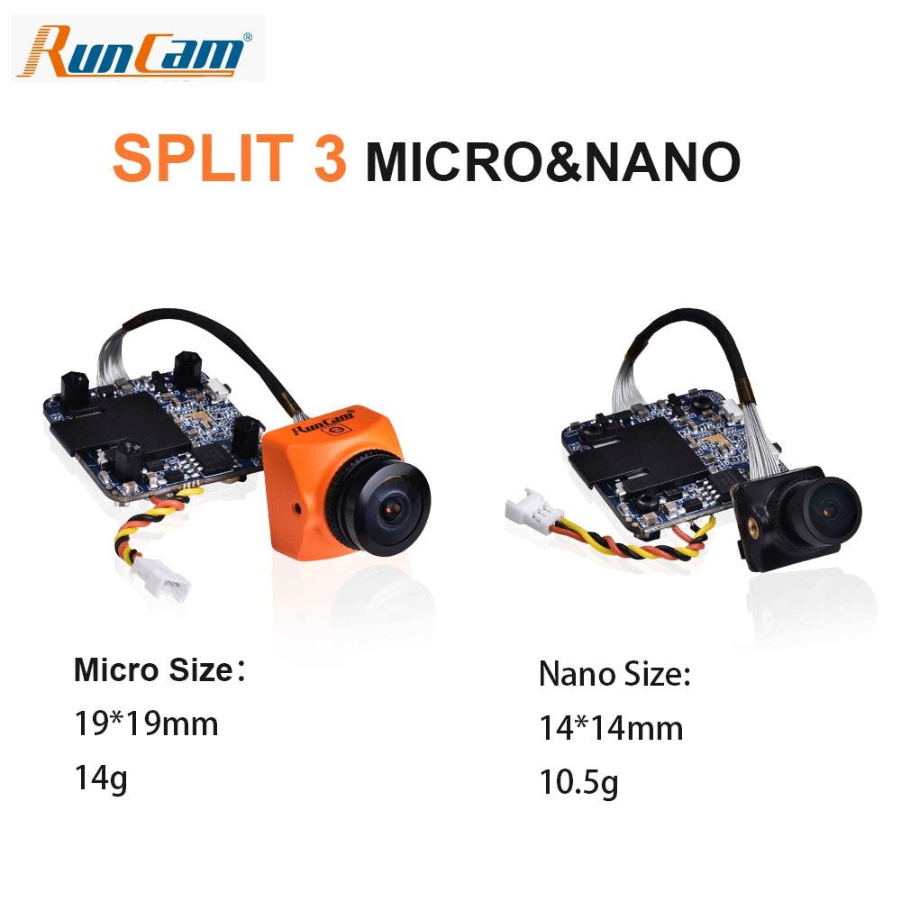 Runcam dividir 3 micro/nano/nano whoop fpv câmera 2mp1080p/60fps hd gravação mais wdr ntsc/pal comutável