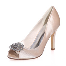 Sparkling crystal brooch open peep toe satin dress shoes evening party prom ladies pumps bridal wedding shoes red ivory silver