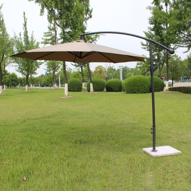 2.7 מטר פלדה ברזל קידום פטיו שמש מטריית גן שמשייה שמשייה חיצוני כיסוי ריהוט (אין אבן בסיס)