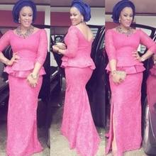 African Fashion Vestido de festa longo O Neck Short Sleeve Mermaid Long Evening Dress Yellow Lace Elegant Nigeria Style Dresses