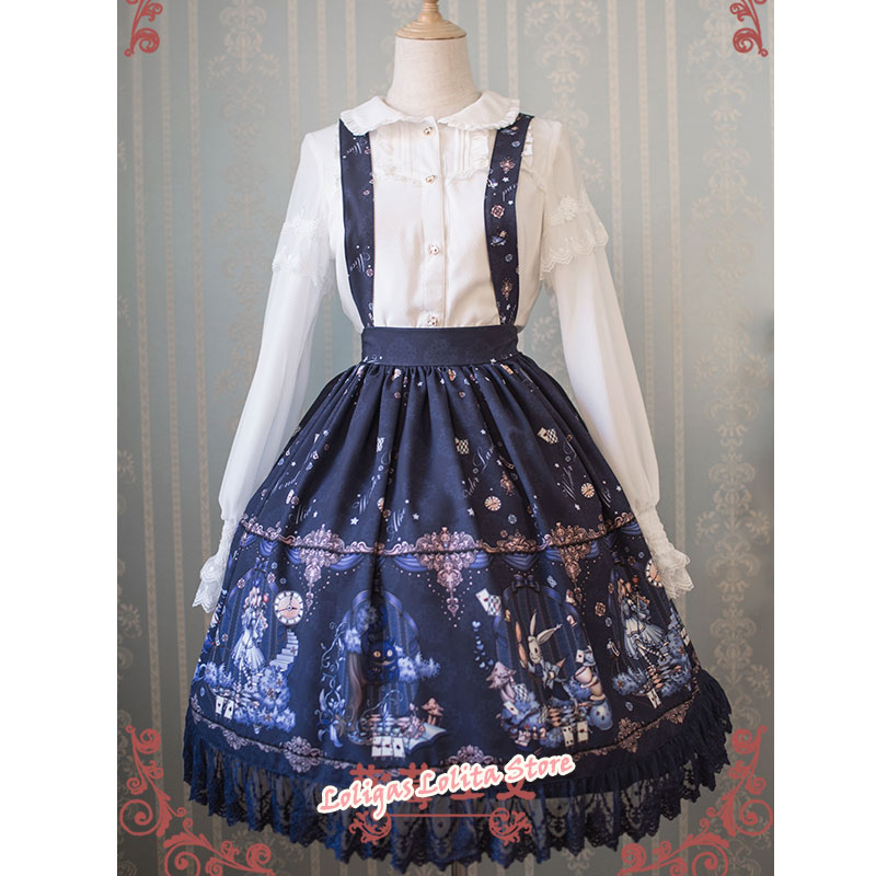 Sweet Female Chiffon Suspender Skirt Alice Wonderland Series Printed Midi Skirt by Strawberry Witch