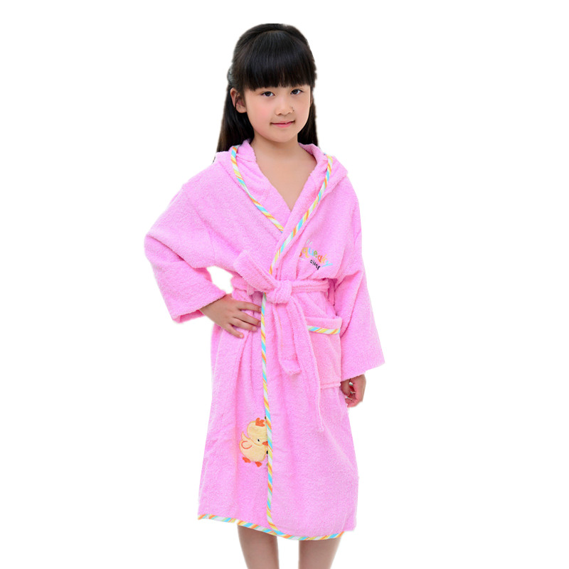 Bathrobes Kids Hooded Sleepwear Robe For Girls Boys Pink Blue Green Pajamas  Roupao Child Bath Robe Girl Boy Swimming Towel Robes a46451cb0