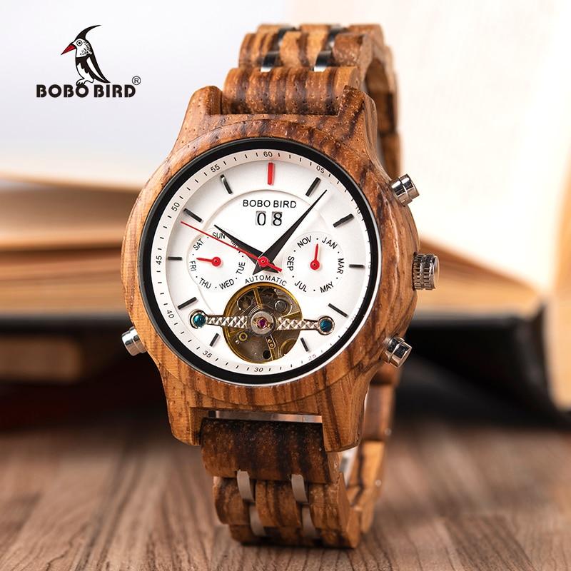 BOBO VOGEL Mechanische Hout Horloge Mannen Vrouwen Automatische Horloge Houten Metalen Balans Wiel Klok Relogio J Q27-in Quartz Horloges van Horloges op  Groep 1