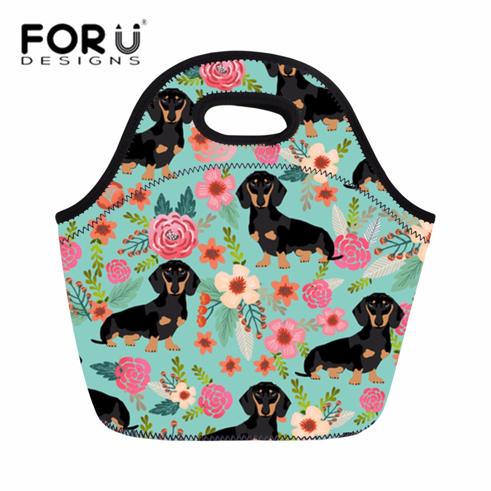 FORUDESIGNS Neoprene Lunch Bags for Women Doxie Dog Handle Tote Food Bag Kids Girls Insulated Thermal Lunch Box Big Storage