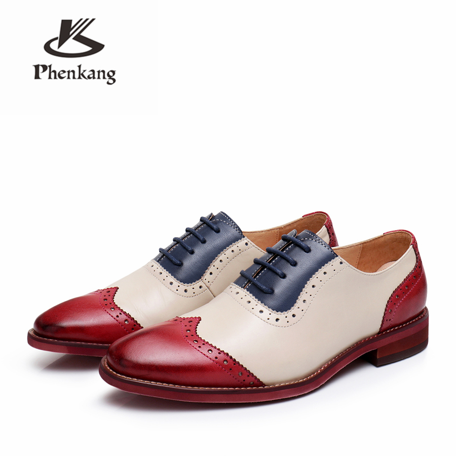 Genuine leather brogues yinzo women flats shoes