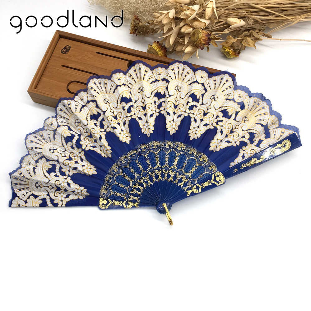 Gratis frakt Högkvalitativ 1PC Lyx Rose Mönster Blomma Blommigt Tyg Lace Ladies Folding Fan Craft Gift Decoration Favor Outd