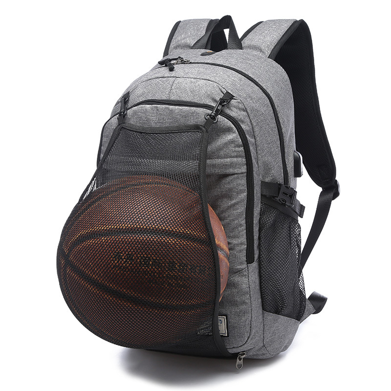 Multifunction Basketball Backpack 15.6 Inch Laptop Shoulders Bag with Basketball Net USB Charging Port Fitnes Mountaineering bag