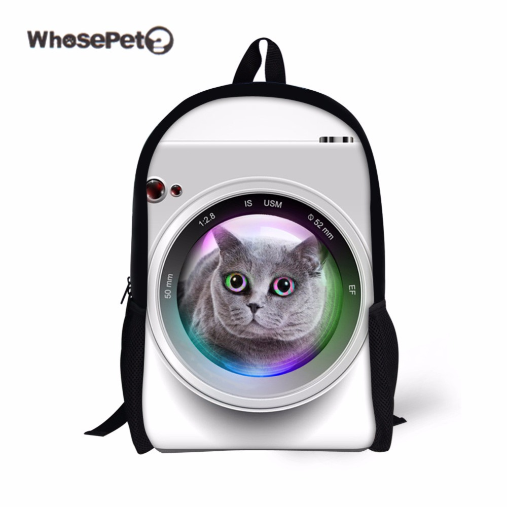 43d27b56eb WHOSEPET Funny Camera Cat Primary Schoolbag Kids Cute Boys Girls School Book  Bag Children Satchel Knapsacks White Leopard Print-in School Bags from  Luggage ...