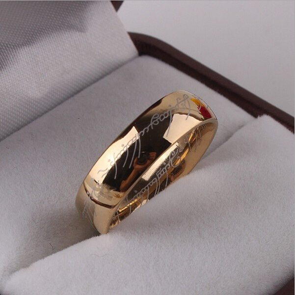 LOTR of The ring Men Women Yellow Gold color Wedding Band Ring Pendant width 6mm Size 6-11 Vintage ring gift